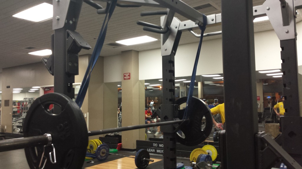 This picture shows the final setup for a reverse-band back squat.