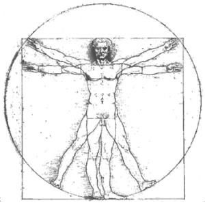 Leonardio DaVinci's Vitruvian Man. Image from stanford.edu